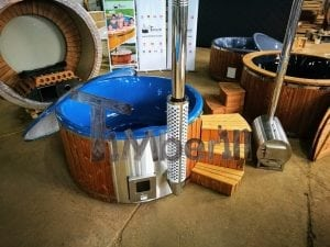 Fiberglass lined hot tub with integrated burner thermo wood vivid colors TimberIN 15