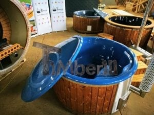 Fiberglass lined hot tub with integrated burner thermo wood vivid colors TimberIN 3