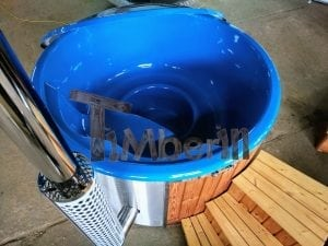 Fiberglass lined hot tub with integrated burner thermo wood vivid colors TimberIN 5