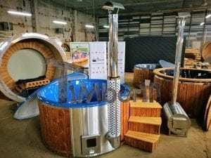 Fiberglass lined hot tub with integrated burner thermo wood vivid colors TimberIN 7