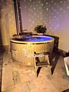 Fiberglass lined outdoor hot tub integrated heater with wood staining 3