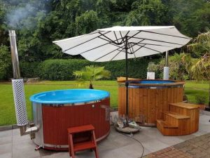 Fiberglass lined outdoor hot tub integrated heater with wood staining 78