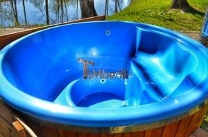 Fiberglass outdoor spa Wellness in thermo wood with wooden lid 10
