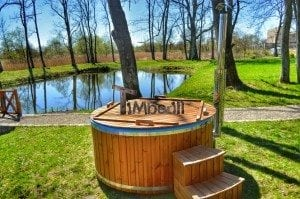 Fiberglass outdoor spa Wellness in thermo wood with wooden lid 19
