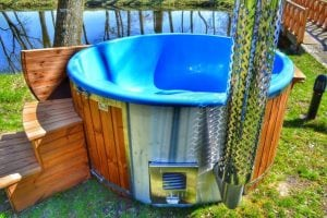 Fiberglass outdoor spa Wellness in thermo wood with wooden lid 2
