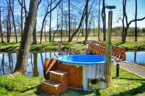 Fiberglass outdoor spa Wellness in thermo wood with wooden lid 23