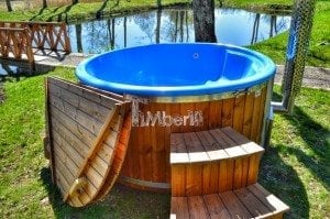 Fiberglass outdoor spa Wellness in thermo wood with wooden lid 29