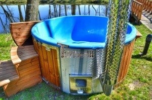 Fiberglass outdoor spa Wellness in thermo wood with wooden lid 30