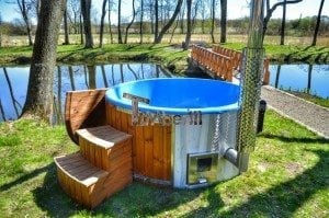 Fiberglass outdoor spa Wellness in thermo wood with wooden lid 31