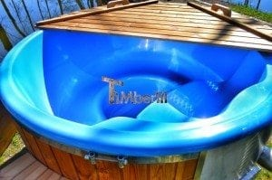 Fiberglass outdoor spa Wellness in thermo wood with wooden lid 6