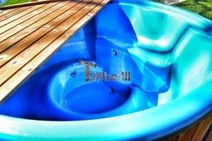 Fiberglass outdoor spa Wellness in thermo wood with wooden lid 7