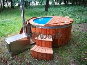 Fiberglass outdoor spa with external burner 29