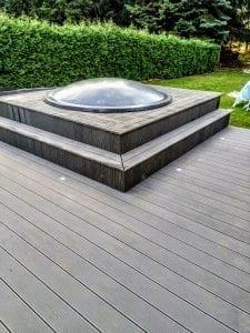 Sunken terrace fiberglass jacuzzi classic model 30