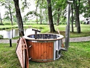 Wellness fiberglasshot tub with complete wood decoration 11