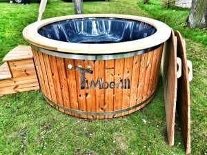 Wellness fiberglasshot tub with complete wood decoration 17