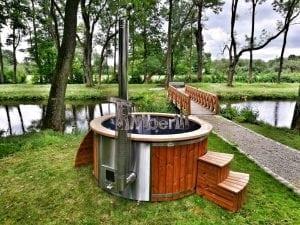 Wellness fiberglasshot tub with complete wood decoration 2