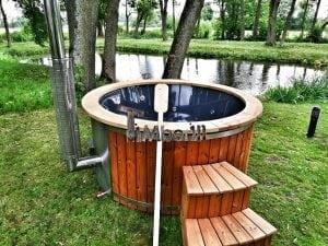 Wellness fiberglasshot tub with complete wood decoration 20