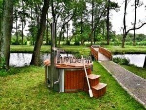 Wellness fiberglasshot tub with complete wood decoration 21