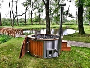 Wellness fiberglasshot tub with complete wood decoration 4
