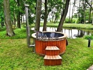 Wellness fiberglasshot tub with complete wood decoration 5