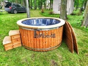 Wellness fiberglasshot tub with complete wood decoration 7