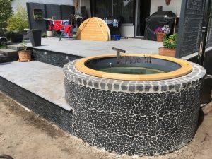 Wellness hot tub with external wood burner 2 1 1
