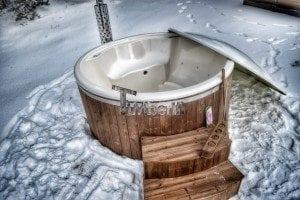 Wood fired hot tub with fiberglass lining Wellness Royal 3