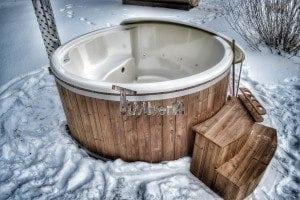 Wood fired hot tub with fiberglass lining Wellness Royal 9