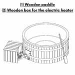 Wooden paddle Wooden box for the electric heater for Wooden hot tub with electric heater