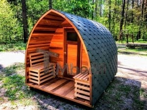 outdoor garden wooden sauna red cedar with electric heater and porch 10