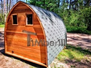 outdoor garden wooden sauna red cedar with electric heater and porch 15