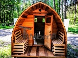 outdoor garden wooden sauna red cedar with electric heater and porch 19