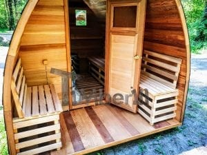 outdoor garden wooden sauna red cedar with electric heater and porch 7