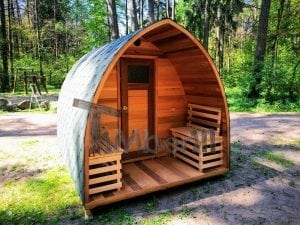 outdoor garden wooden sauna red cedar with electric heater and porch 9