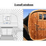 2 small windows for rectangular sauna