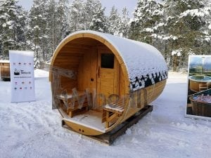 Barrel garden sauna with canopy terrace and electric heater 1
