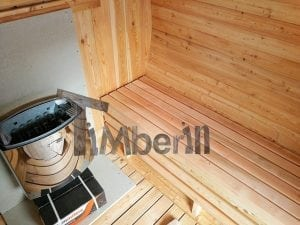 Barrel garden sauna with canopy terrace and electric heater 19