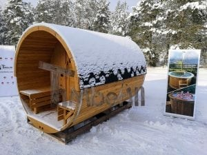 Barrel garden sauna with canopy terrace and electric heater 2