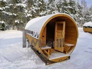 Barrel garden sauna with canopy terrace and electric heater 25