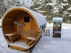 Barrel garden sauna with canopy terrace and electric heater 3