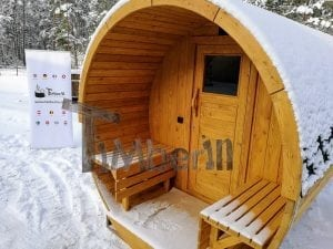 Barrel garden sauna with canopy terrace and electric heater 6