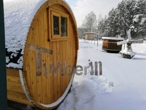 Barrel garden sauna with canopy terrace and electric heater 8