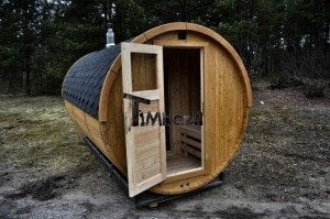 Barrel outdoor garden sauna with panoramic window 13
