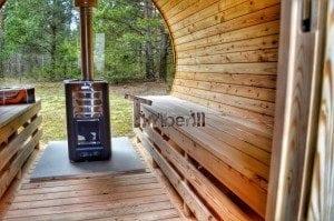 Barrel outdoor garden sauna with panoramic window 25