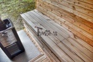 Barrel outdoor garden sauna with panoramic window 30