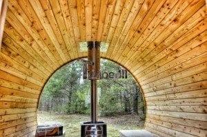 Barrel outdoor garden sauna with panoramic window