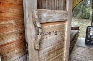 Barrel outdoor garden sauna with panoramic window 31