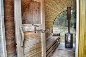 Barrel outdoor garden sauna with panoramic window 34