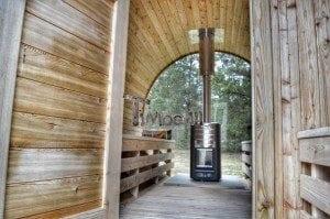 Barrel outdoor garden sauna with panoramic window 36