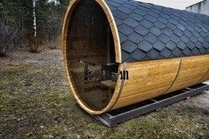 Barrel outdoor garden sauna with panoramic window 7